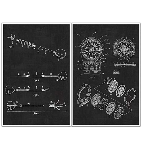 Darts, Sports, Man Cave, Patent Prints, Blueprint Poster - set of 2 Dart posters