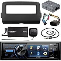Audio Bundle For 2014 and Up Harley -JVC KD-AV41BT 3 Marine DVD Bluetooth Audio Receiver Combo W/ Dash Install Kit and Handle Bar Control for Motorcycles, SiriusXM Tuner, Enrock 22 AM/FM Antenna