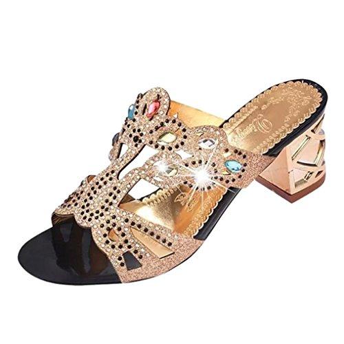 WOCACHI Women Shoes Summer Fashion Girl Big Rhinestone High Heel Sandals Ladies Beach Sandal