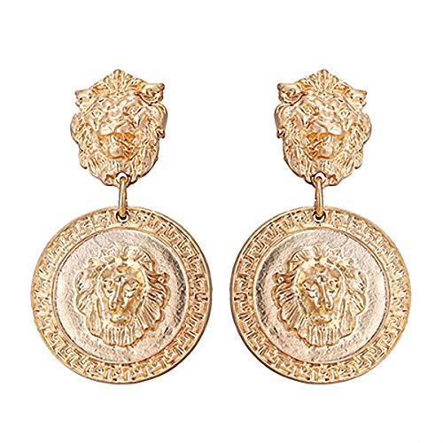 Zinc Alloy Lion Portrait Dangle Earrings Ethnic Grometric Earrings Women Party Jewelry Gold ()