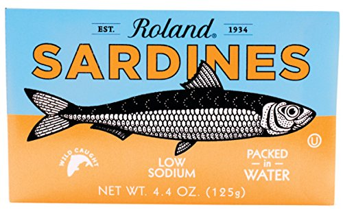 Roland Sardines in Water, Low Sodium, 4.375 Ounce (Pack of 20)