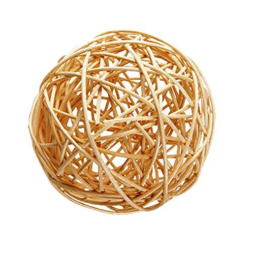 "Custom & Fancy {3"" Inch} Approx 240 Pieces of Large Round Ball ""Table"" Party Confetti Made of Premium Rattan w/ Modern Unique Creative Natural Textured Outdoor Light Twig Nest Filler Design [Tan]"