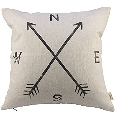 HOSL Retro Blend Linen Square Vintage Throw Pillow Case Shell Decorative Cushion Cover Pillowcase Compass about 17.3*17.3 Inch(44CM*44CM)