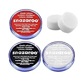 18ml Snazaroo Professional Non Toxic Reusable Water Based Halloween Face Paint Set (Red, Black, White & Two Sponges)