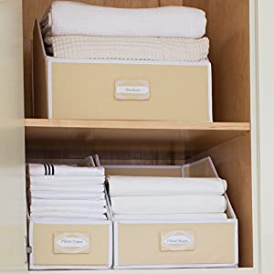 G.U.S. Ivory Linen Closet Storage: Organize Bins For Sheets, Blankets,  Towels, Washcloths, Sweaters And Other Closet Storage 100% Cotton   Small