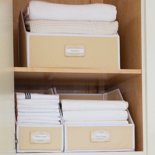G.U.S. Ivory Linen Closet Storage: Organize Bins For Sheets, Blankets, Towels, Wash Cloths, Sweaters And Other Closet Storage 100%-Cotton - Medium