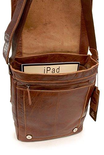 de bandolera tamaño iPad para 8342 A4 Tostado Bolso y Apto portátil ASHWOOD SxqE4w8O8