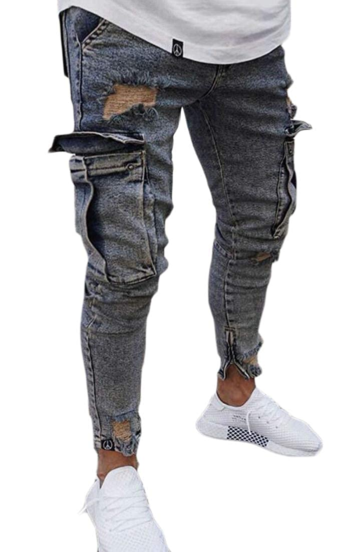 Jaycargogo Men`s Loose Fit Motorcycle Multi-Pockets Workwear Denim Cargo Jeans