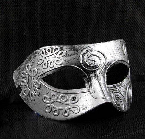 WAWO Retro Roman gladiator Halloween party masks Mardi Gras Masquerade mask - White & -