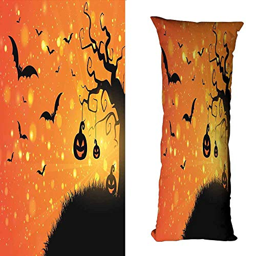 duommhome Halloween Creative Pillowcase Magical Fantastic Evil Night Icons Swirled Branches Haunted Forest Hill Machine Washable W15.7X L47.2 inch Orange Yellow Black -
