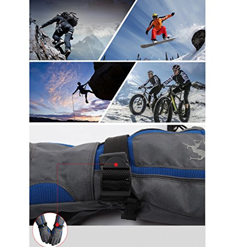 Ciclismo Gli Per Zip Nero Ispessimento Sport Snowboard Impermeabile All'aria Aperta Moto Con Guanti blu Sci Zerlar Mens Da Tasca q7qg0w