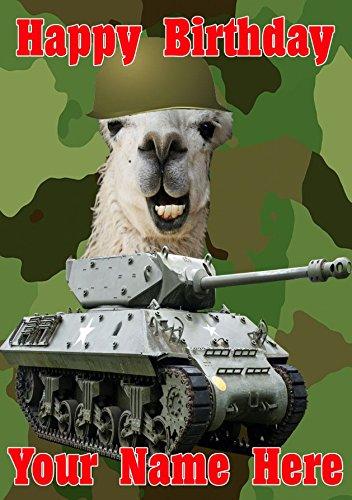 Funny Lama Haarspange Military Army Tank Fun Cute Happy Birthday A5