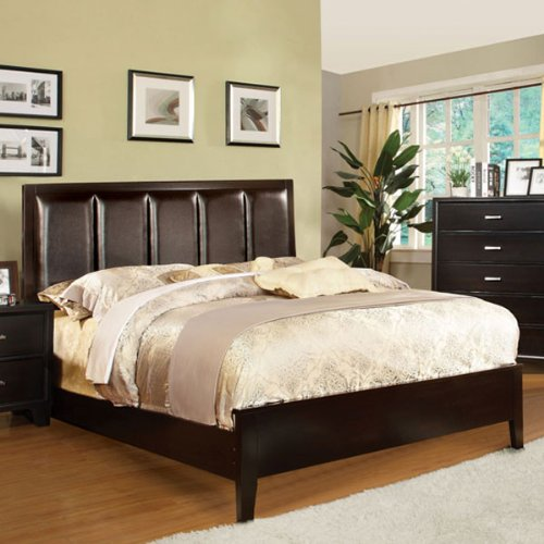 Fenton Transitional Style Espresso Finish Cal King Size Bed Frame Set