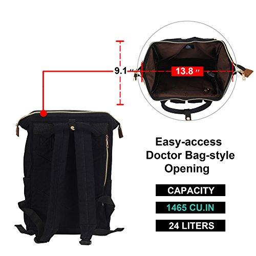 2325d3132bda Veegul Stylish Doctor Style Canvas School Backpack Travel Bag for Men Women  24 Liters Dual Pockets