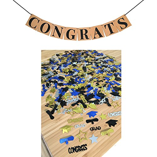 - CONGRATS BANNER SIGN CONFETTI KIT - Perfect Graduation Decorations | Graduation Party Supplies for Grad Party | Classy Kraft Paper Graduation BANNER | Graduation CONFETTI and Hat Decor