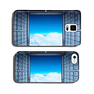 3d network server room and cloud outside as concept cell phone cover case Samsung S6