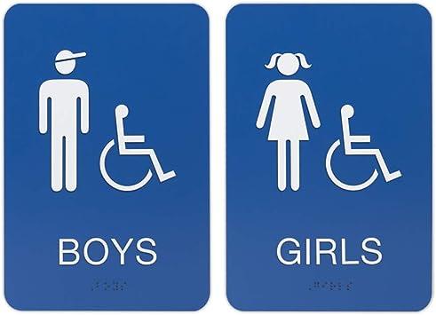 Amazon Com Boys Girls Ada Restroom Bathroom Sign W Braille