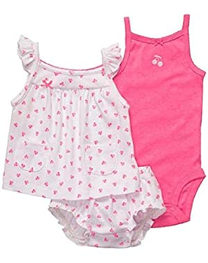 Baby-girls Fuschia & Cherry Layette Set (3 Piece)