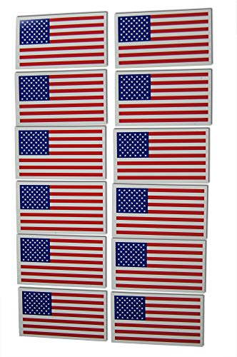 Flag Refrigerator Magnet - Small American Flag Patriotic Military Magnets Set includes Twelve Mini Rectangles in Classic Red, White, Blue US Design (12 Pieces)
