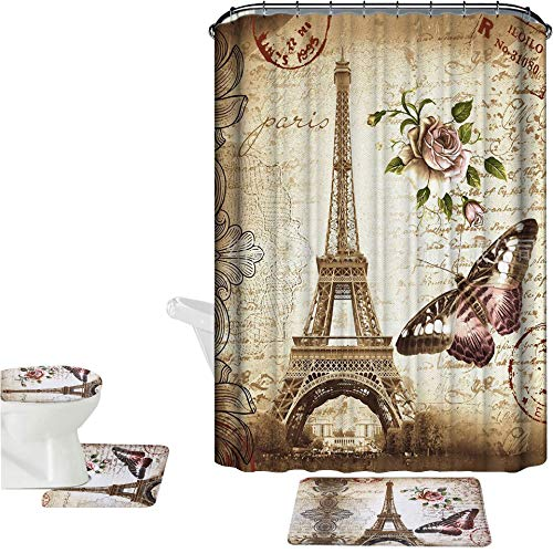 Amagical Brown Paris Eiffel Tower 16 Piece Bathroom Mat Set Shower Curtain Set Non Slip Bath Mat + Contour Mat + Toilet Cover + Shower Curtain + 12 Hooks (Brown Paris Tower)