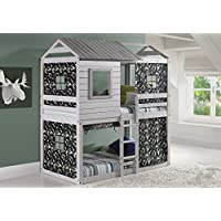 Custom Kids Furniture House Double Bunk Beds with Camouflage Tents - Free Storage Pockets