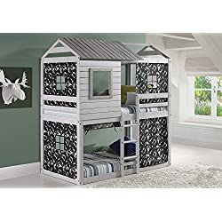 House Double Bunk Beds with Camouflage Tents - Free Storage Pockets