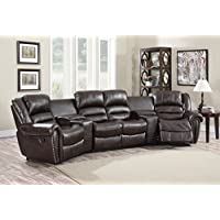 Leather Air 4-Seat Recliner Theater Set in Burgundy 752979