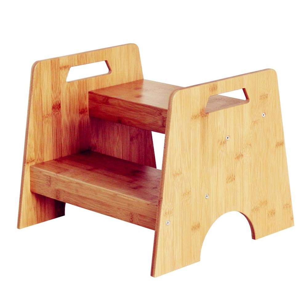 WWL- Two Step Stool for Kids, Bamboo Small Kitchen & Bathroom, Toddler's Stool for Potty Training Portable Built-in Carry Handles