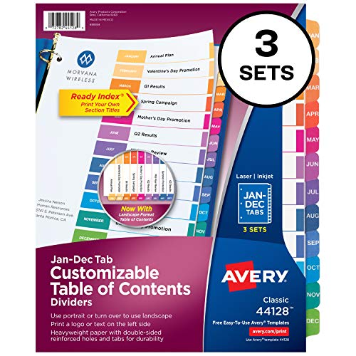 (Avery Ready Index Monthly Dividers, Customizable Table of Contents, Classic Multicolor Tabs, 3 Sets (44128))