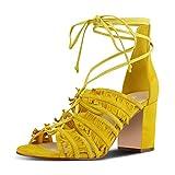 YDN Womens Summer Block Low Heel Tassels Sandals Peep Toe Lace-up Bridal Dress Shoes Yellow 9.5