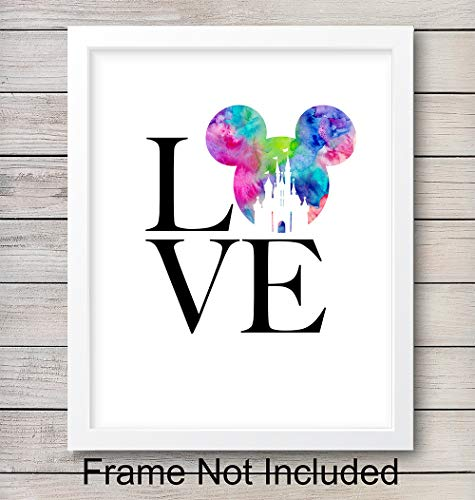 Mickey Mouse Love Unframed Wall Art Print - Perfect Gift For Disney and Disneyworld Fans - Great Home Decor For Nursery, Girls or Boys Room - Ready to Frame (8X10) Photo