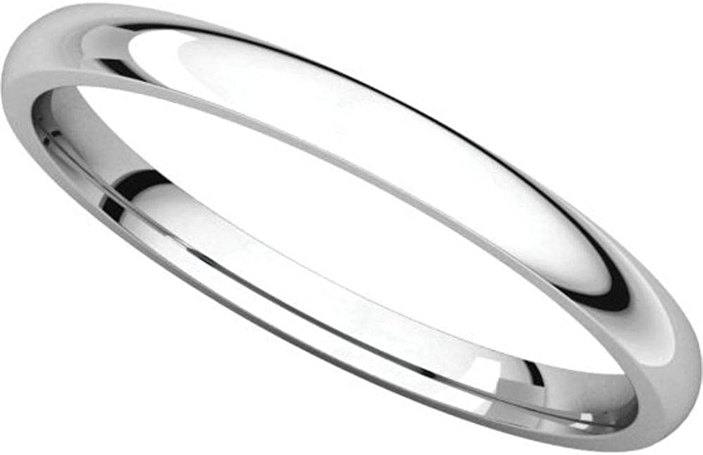 Size 13.5 Bonyak Jewelry 10k White Gold 2 mm Lightweight Comfort-Fit Band