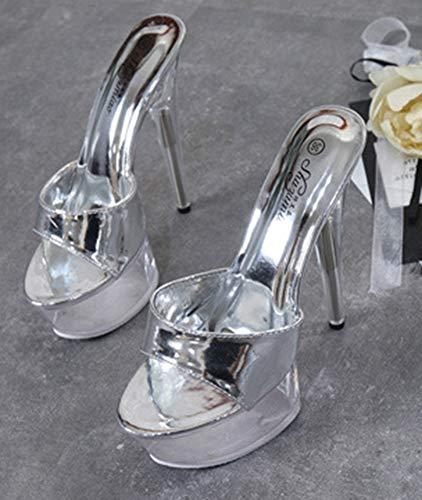 Fille Transparent Femme Aisun Argent Mules Sexy Banquet Cristal Stiletto SqFSPxgY
