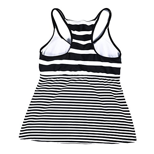 DUSISHIDAN Women Black & White Stripe Swim Top Tummy Control, XL by DUSISHIDAN (Image #5)