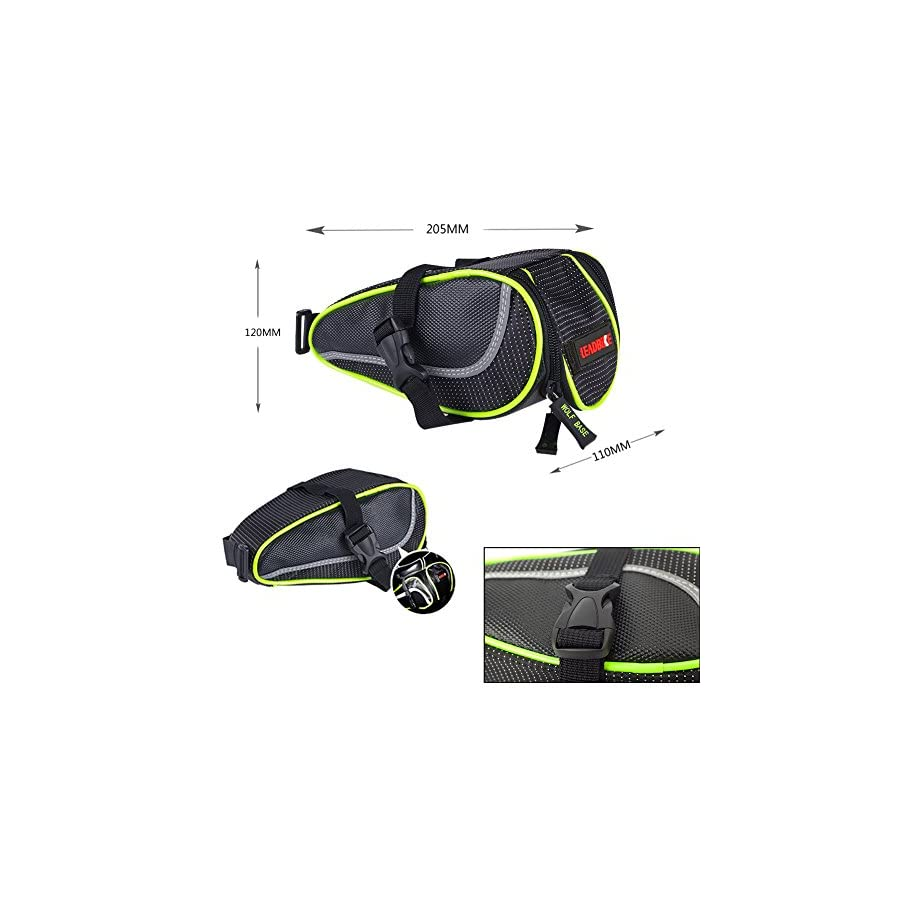 Eloiro for Bicycle , Road Bike & MTB Cycling Saddle Bag, Waterproof Strap on Bike Bag Back Seat Pouch Pocket Pack Seat Bag for Outdoor Night Safety Ride, Convenient with Reflective Stripes Green