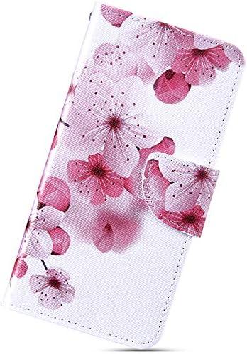 Urhause Kompatibel mit Huawei Mate 20 Hülle, Gemalt Wallet Flip PU-Handyhülle mit [Kartenslots][Magnetverschluss] Ständer Funktion mit Lanyard Stoßfeste Schutzhülle,Pfirsichblüte