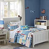 Construction Trucks, Trains, Airplanes, Patchwork Boys Full Comforter (8 Piece Bed in A Bag)