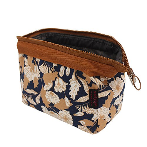 Makeup Bag/Travel Cosmetic Bags/Brush Pouch Toiletry Kit Fashion Women Jewelry Organizer with YKK Zipper Electronics Accessories Hard Drive Carry Case Portable Cube Flower Floral Purse (Brown)
