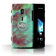 Personalized Marble Case for Sony Xperia ion LTE/LT28 / Turquoise Green Emblem Design / Name/Initial Custom DIY Cover