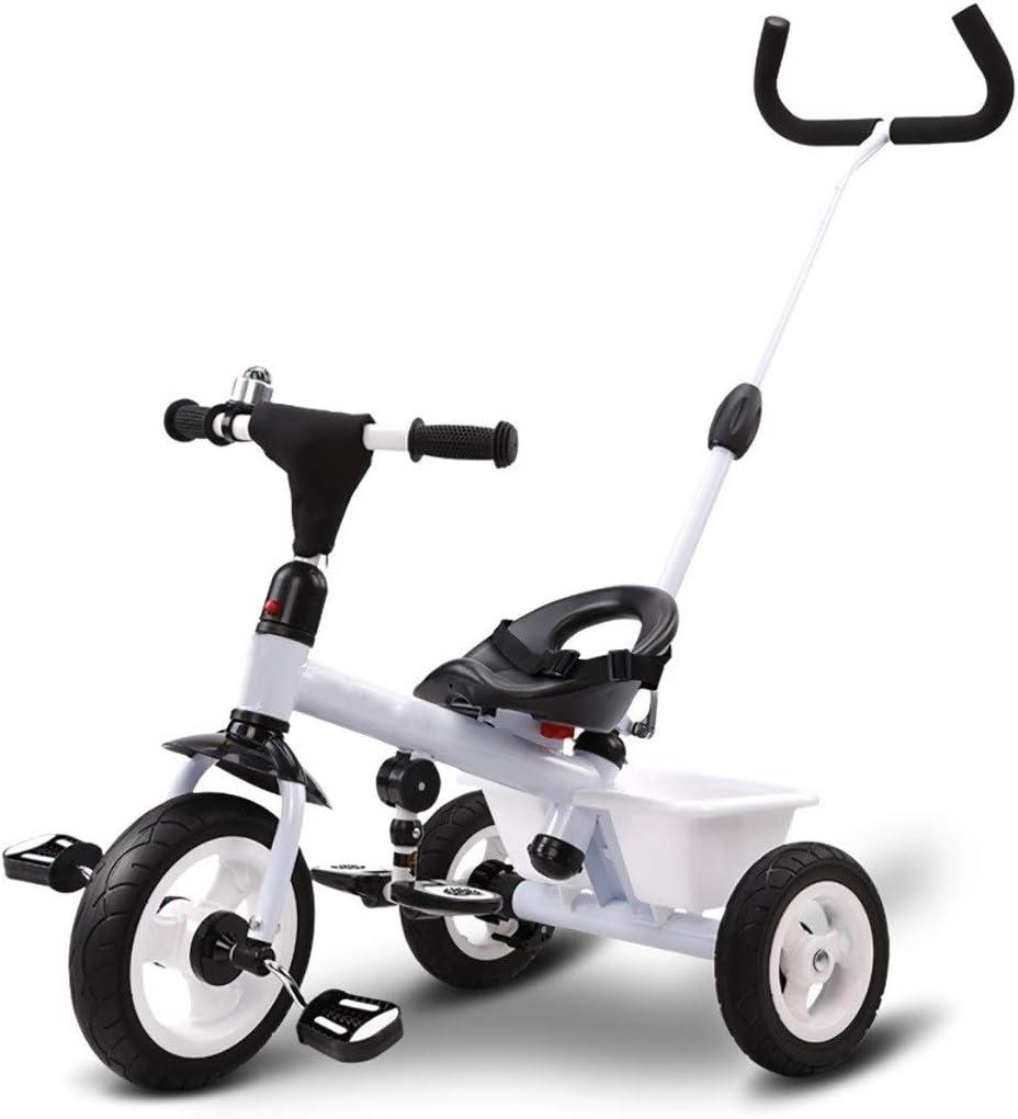 XIAOYANG Triciclo Multifunción Portátil De Triciclo Infantil 3 En 1 Triciclo 2-6 Años Aire Libre Antiguo Bici del Bebé De 3 Colores, 64x74x47cm (Color : White)