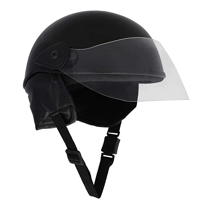 Sage Square Scooty Half Helmet for Men, Women (Black Glossy, Small)
