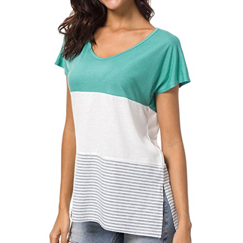 supurst Casual Short Sleeve T-Shirts Blouses Tops for Women Summer Loose Color Block Striped T-Shirts (Block Summer)