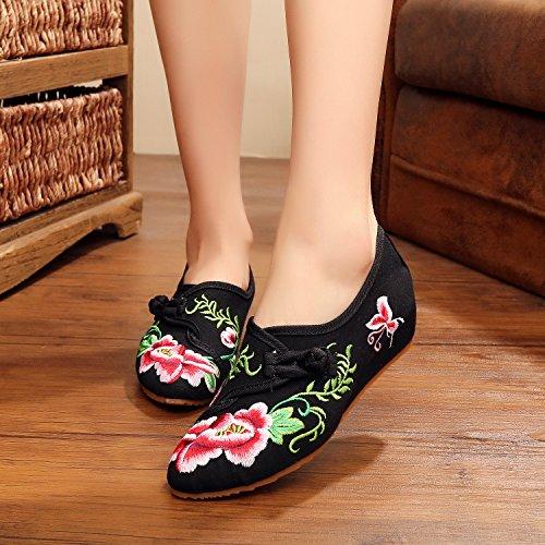 WXT Zapatos bordados, lino, lenguado del tendón, estilo étnico, zapatos femeninos, manera, cómodo Black