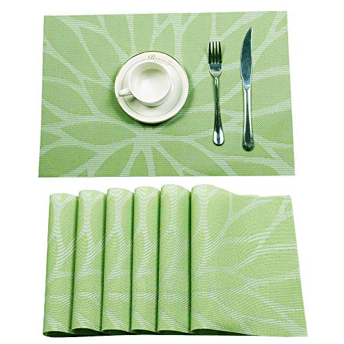 HEBE Placemats, PVC Table Mats,Placemat Set of 6 Non-Slip Washable Coffee Mats,Heat Resistant Kitchen Place Mats for Dining Dinner Table (Green)