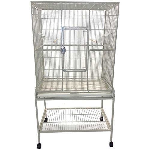 A&E Cage Co. 32-Inch by 21-Inch Flight Cage and Stand, Platinum