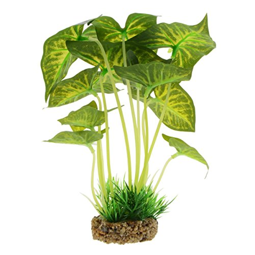 Saim Aquarium Decor Fish Tank Decoration Ornament Artificial Plastic Syngonium Plant 8.6 inch Tall