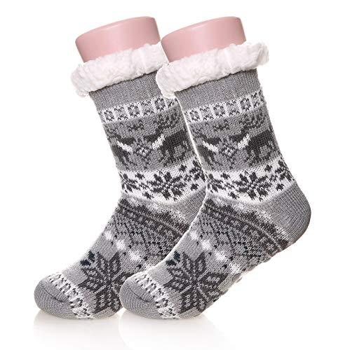 Kids Boys Girls Fuzzy Slipper Socks Soft Warm Thick Fleece lined Christmas Stockings For Child Toddler Winter Home Socks (Grey, 5-8 Years)