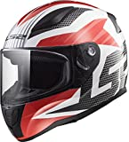 LS2 Helmets Rapid Grid Red Graphic Unisex-Adult Full-Face-Helmet-Style Motorcycle Helmet (White, Small)