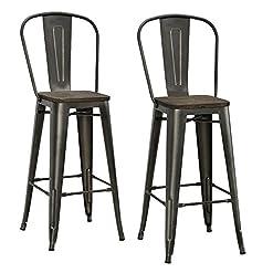 Farmhouse Barstools DHP Luxor 30″ Metal Wood Seat, Antique Copper, Set of 2 Bar Stool farmhouse barstools