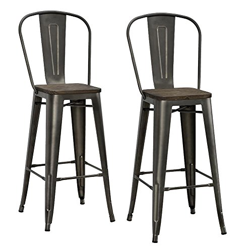 DHP Luxor Metal Counter Stool with Wood Seat and Backrest, Set of two, 30'', Antique Copper by DHP